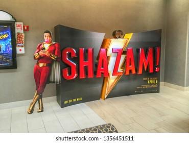 Shazam movie opening display cinema theater lobby entrance,  Danvers Massachusetts USA, March 25, 2019