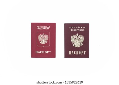 Shchelkovo, Russian Federation - Mar 09, 2019: Two Russian passports -  photo of  foreign passport of  citizen Russian Federation and a national passport of the Russian Federation on white background