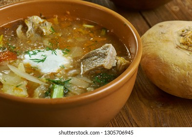 Shchi, Russian traditional cabbage soups , assorted dishes, Top view.