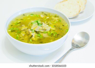Shchi. Russian traditional soup with cabbage and meat. Selective focus, close-up.