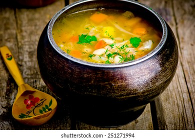 shchi, traditional Russian soup from cabbage. style rustic. selective focus