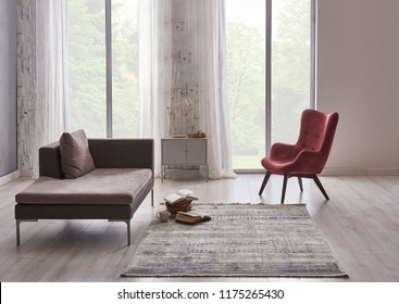 She is checking their smart phone in the home. Decorative modern grey home and forest view style.