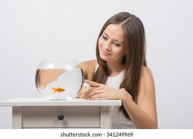 She knocks on the finger on the glass aquarium with goldfish