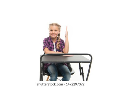 She knows all right answers. Knowledge is richness. Back to school. Private school concept. Individual schooling. Elementary school education. Enjoy process of studying. Perfect student girl sit desk.