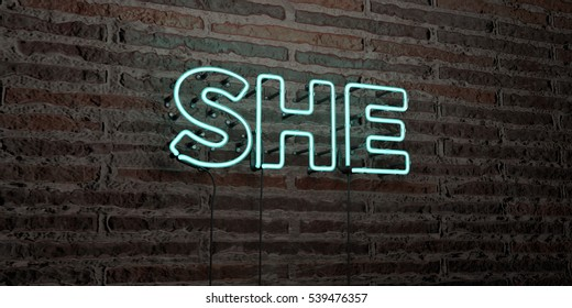 SHE -Realistic Neon Sign on Brick Wall background - 3D rendered royalty free stock image. Can be used for online banner ads and direct mailers.