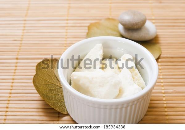 shea butter organic moisturizer on bamboo