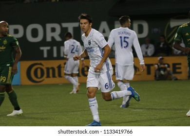 Shea Salinas midfielder for the San Jose Earthquakes at Providence Park in Portland Oregon USA July 7,2018.