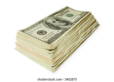 sheaf of dollars isolated on white