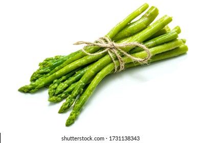 A sheaf of fresh wet asparagus on a white background tied with a rope, on a white background.