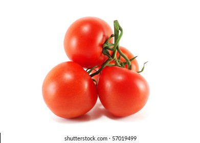 Sheaf of ripe tomatoes isolated on a white background