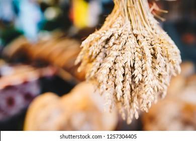 Sheaf of wheat ears on blurred background