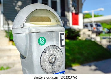 Sheboygan, WI / USA. - Sep13, 1919: An expensive parking meter near Fountain Park in downtown Sheboygan.