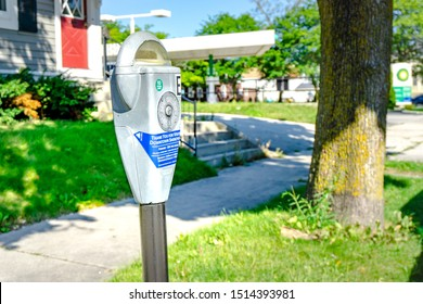 sheboygan, WI / USA.-Sep13,2019: the expensive parking meter near Fountain Park in downtown Sheboygan.