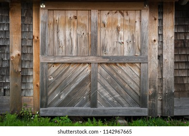 Shed Door - weathered shingles and barn door
