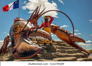"Shediac, New Brunswick/ Canada - June 10, 2017: Lobster Capital of the World, Shediac is a Canadian town that boasts ""The World's Largest Lobster"" weighing in at 90-tonnes."