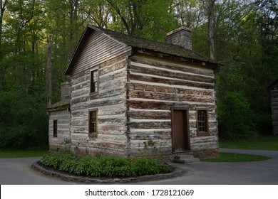 Sheeks house erected in 1816.  The log cabin, was moved about 3 miles into Spring Mill State Park location in 1933.  It is one of the oldest structures in Indiana.