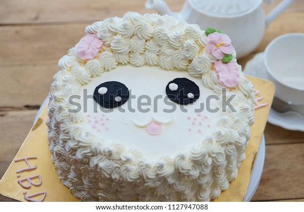 Awe Inspiring Sheep Birthday Cakes Afternoon Tea Set Stock Photo Edit Now Funny Birthday Cards Online Benoljebrpdamsfinfo