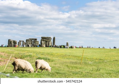 Sheep graze in the foreground as visitors tour Stonehenge in the distance on the Salisbury Plain, England