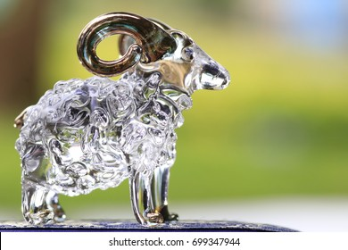 the sheep made by glass and white bokeh on green background
