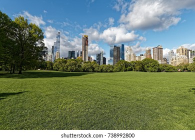 Sheep Meadow and Buildings in Central Park, NYC