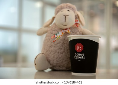 Sheep Puppet Promoting Douwe Egberts Coffee At Amsterdam The Netherlands 2019