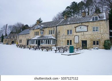 Sheepscombe, Gloucestershire, UK, March, 2nd, 2018, The snow covered courtyard and the Butchers Arms and restaurant in the Cotswolds.