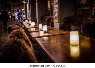 sheepskin sitting outside swiss restaurant