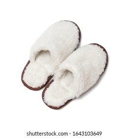 Sheepskin slippers isolated on white background/ Top view/ Close up