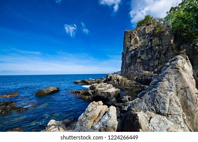 Sheer cliffs of the northern coast of Bornholm island - Helligdomsklipperne (Sanctuary Rocks), Denmark