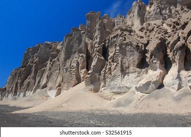 sheer cliffs on the beach of Vlychada - Santorini