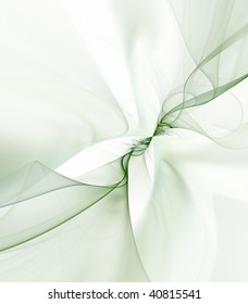 Sheer green flowing textures effect against white.  Fractal abstract background design.