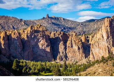 The sheer rock walls. Beautiful landscape of sharp cliffs. Smith Rock state park, Oregon