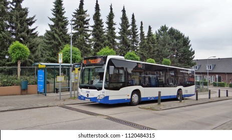 's-Heerenberg / Netherlands - June 6 2018: A blue / white Mercedes Benz Citaro C2 bus of LOOK / NIAG at the bus station of 's-Heerenberg as bus line 91 to Emmerich