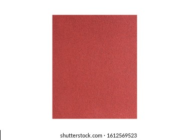A sheet of brown sanding paper on a white background. White isolate.