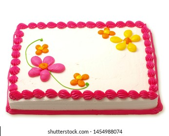 Sheet Cake with White Icing and Hot Pink Buttercream Borders on White Background