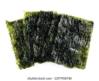 Sheet of dried seaweed, Crispy seaweed isolated on white background