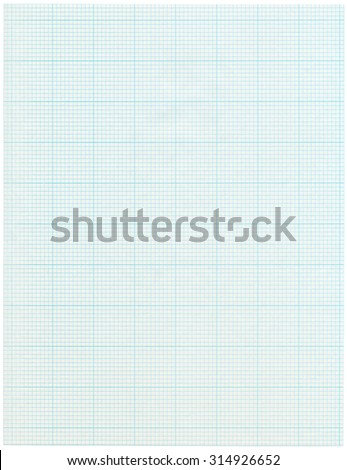A Sheet Of Graph Paper With Blue Lines Isolated On White