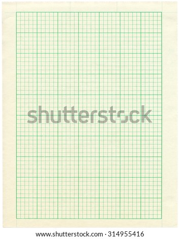 A Sheet Of Green Graph Paper With Grid Isolated On White