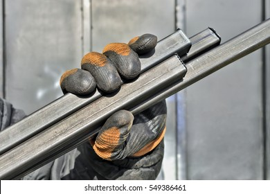 Sheet Metal profile with worker gloves