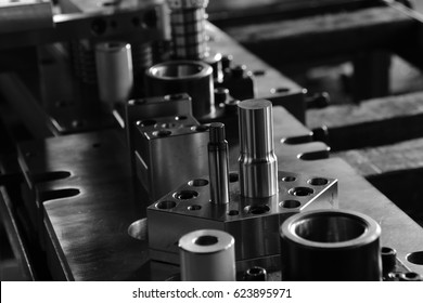 Sheet Metal Stamping Tool Die for Automotive Precision Parts on The Numerical Control Milling Machine Table. Tandem Stamping System. At a High Quality Technology Factory.