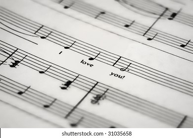 a sheet of music with the lyric I love you
