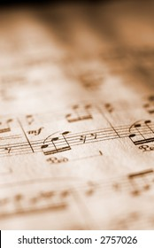 Sheet music in sepia tone with ultra-short DOF