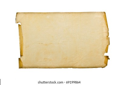 Sheet of the old torn imprinted parchment with the torn off edges
