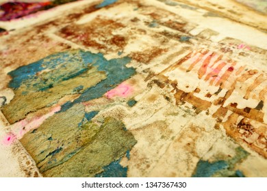 Sheet on paper damaged by chemical reaction. Corrosive acid-alkaline corrosive contamination conceptual background.