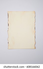 A sheet of paper burned on the edges