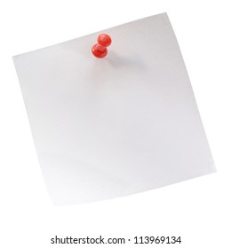 sheet of paper for notes and pushpin on a white background