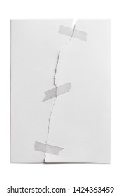 Sheet of paper, torn in half and glued with adhesive tape, isolated on white background