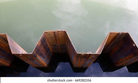 Sheet piling, dam wall in the water