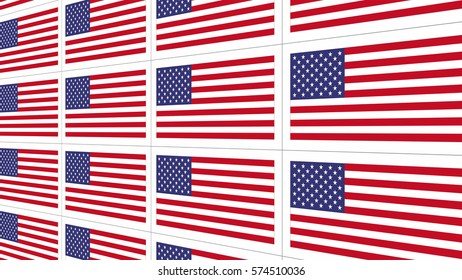 Sheet of postcards with national flag of USA. Sate symbol of United States nation and government.