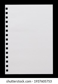 a sheet of white paper with a perforation from a notebook, isolated on a black background